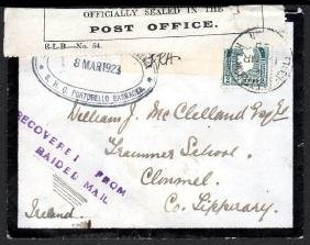 Civil War: 1923 mourning cover, m/s (Censored) / IRA