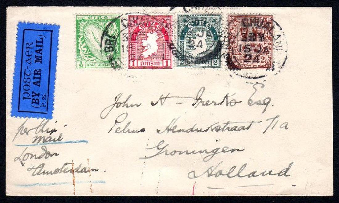 Airmail: 1924 cover from Bray to Groningen (NL)