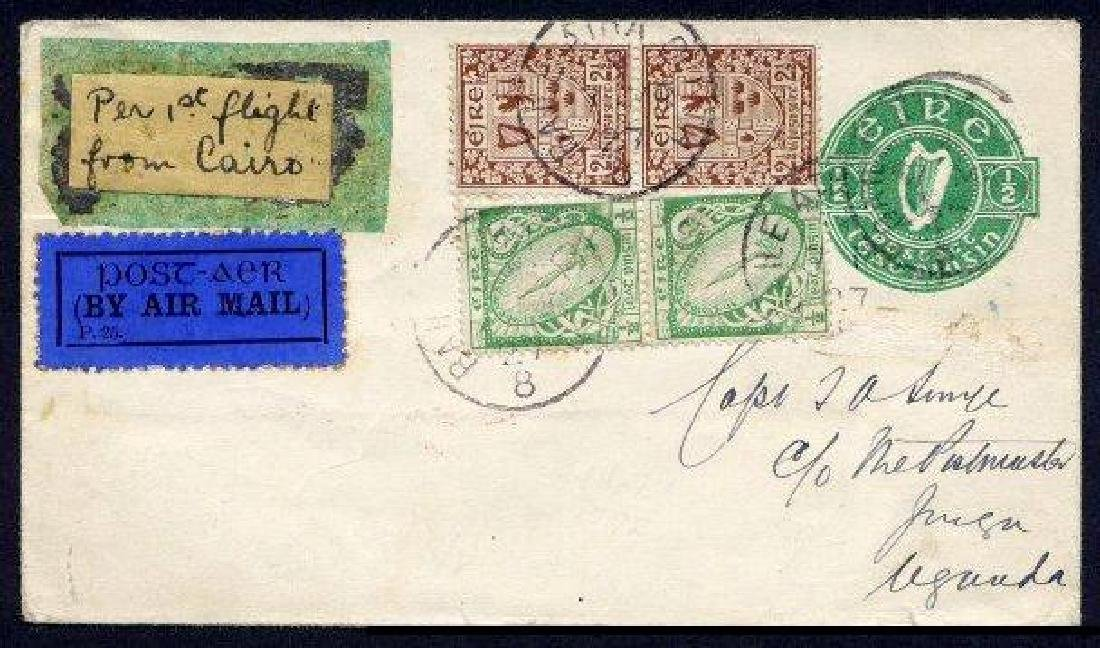 """Airmail: 1927 """"Smye"""" cover Dublin to Jinja, Uganda"""