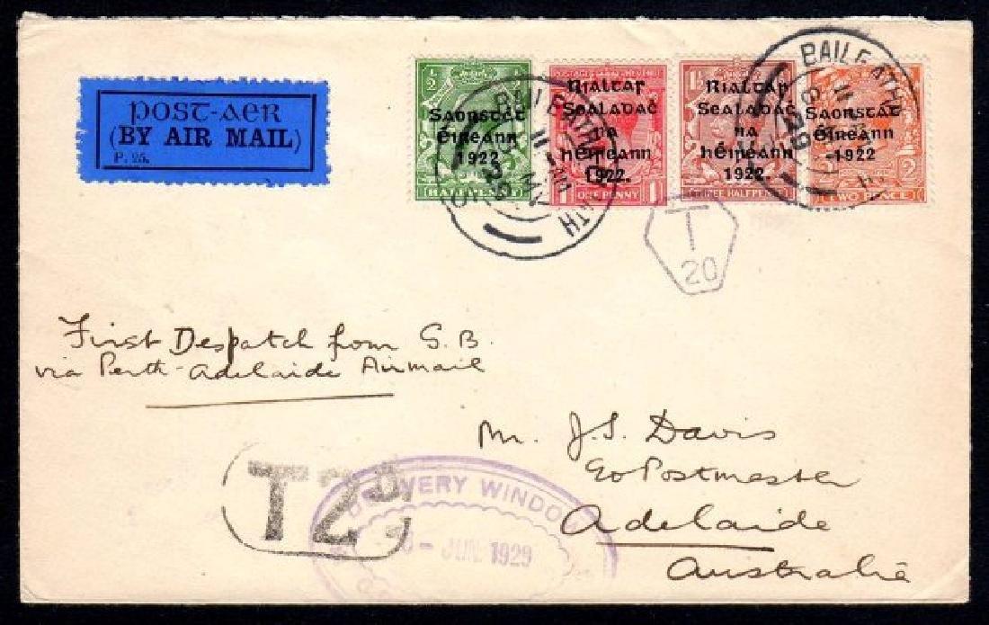 Airmail: 1929 Davis cover Dublin to Adelaide