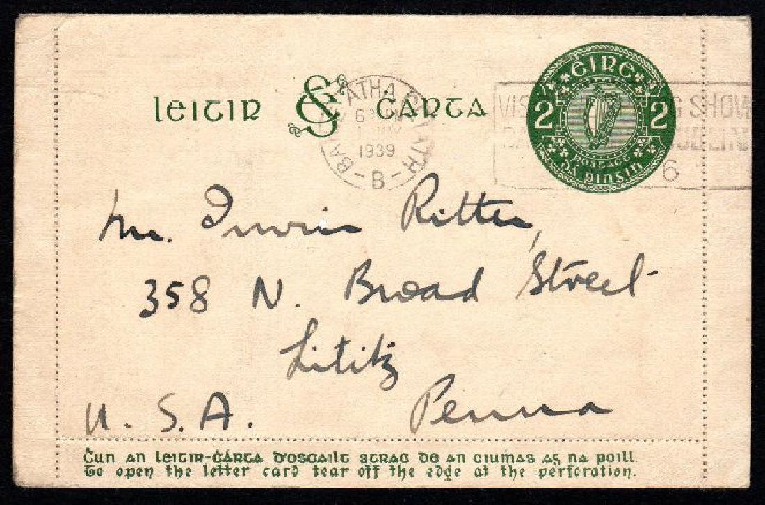 Letter Card: 1934 2d deep green on thick cream board