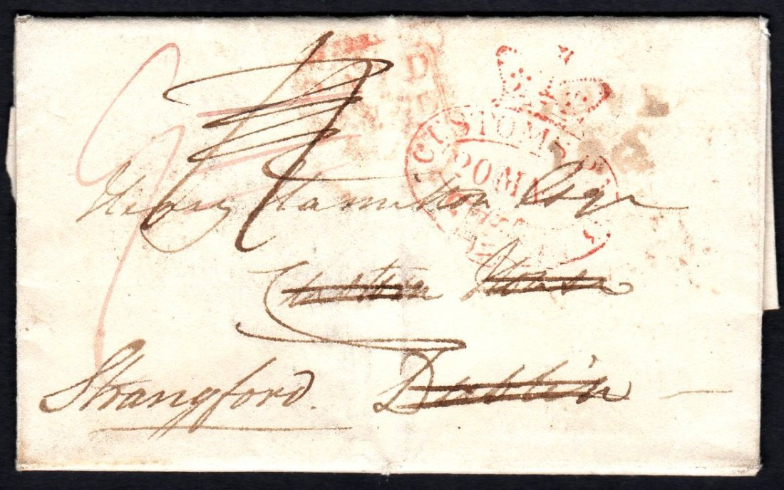 1822 Entire Letter CUSTOMS PAID