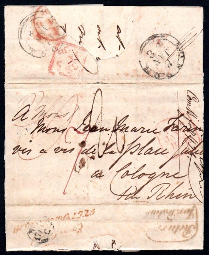 1838 Entire Letter Dublin to Cologne,