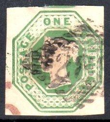 1847 Embossed 1/- with Diamond cancel