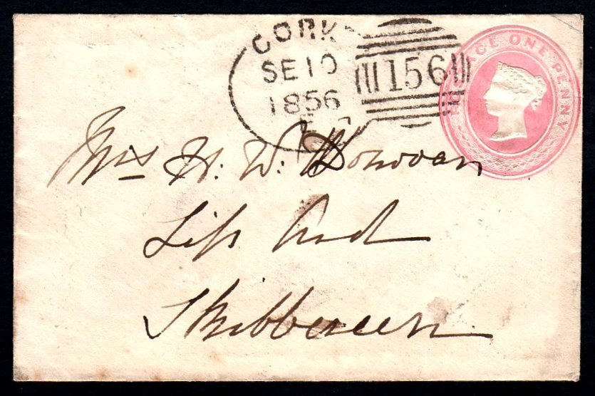 1856 1d pink envelope with CORK Spoon