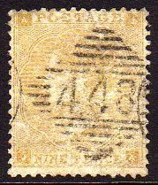 1862 Emblems 9d straw with inverted wmk.