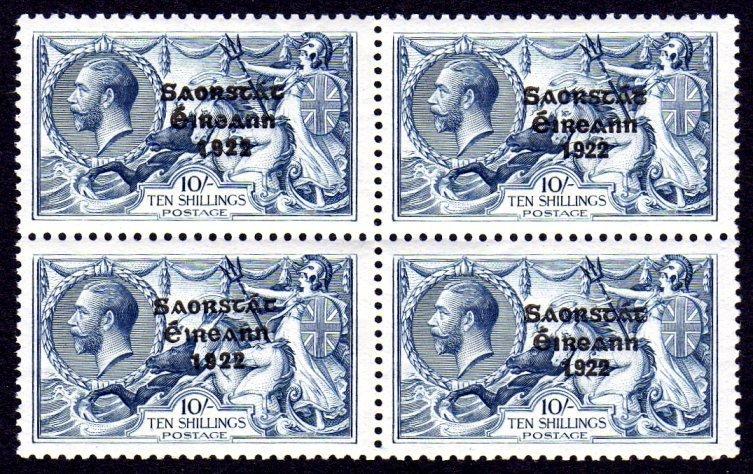 "1927 10/- ""wide & narrow date"" block of 4"