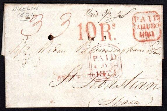 Postal History: EL Dublin to St. Sebastian