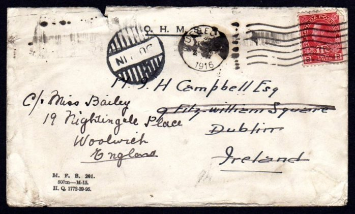 OHMS: 1916 Cover from Canada to Dublin Emergency cancel
