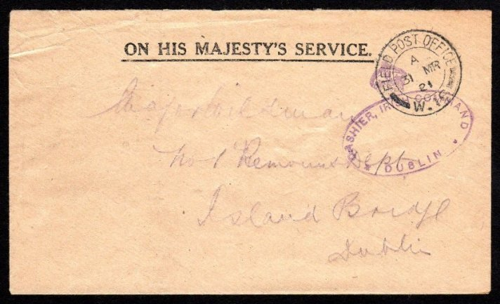 OHMS: Stampless envelope with FIELD POST / OFFICE W.16