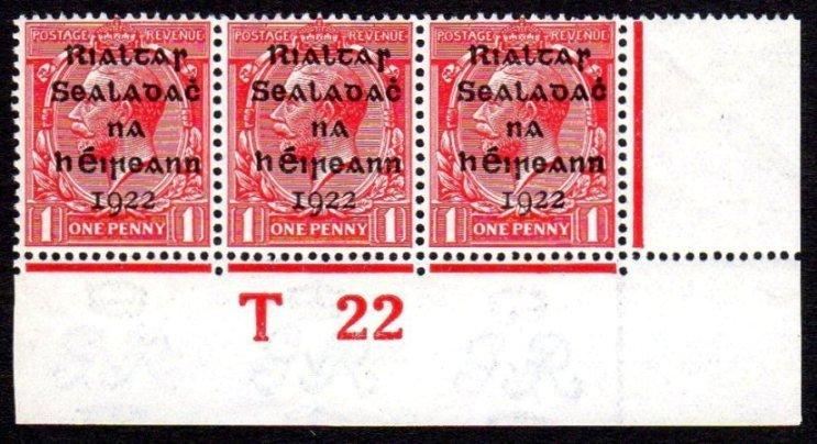 Dollard: 1d strip of 3 Control T22