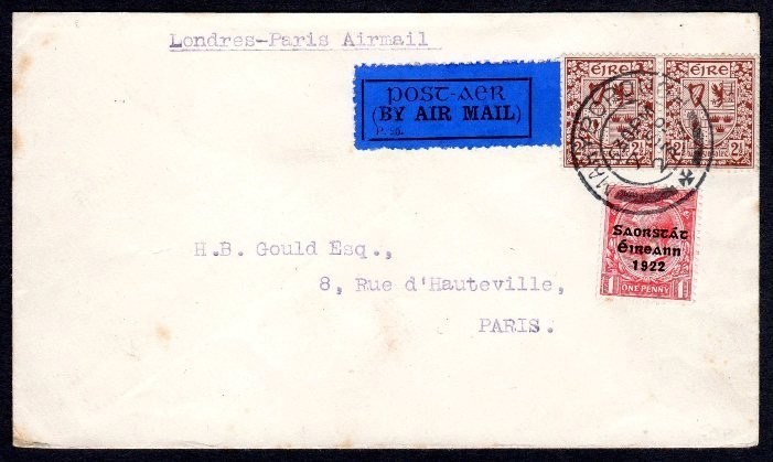 "Irish Definitive ""Se"": 2 1/2d pair on cover to Paris"