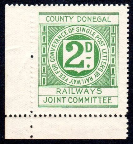Irish Railway: County Donegal 1906 2d bluish green