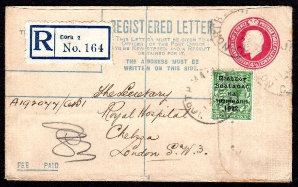Registered Envelope: Transition, Geo.V 4 1/2d magenta