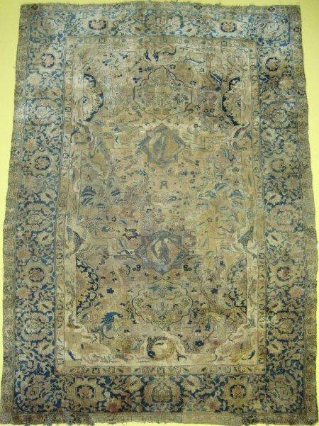 82: Antique 17th Century Silk Kirman  6.8 x 4.8