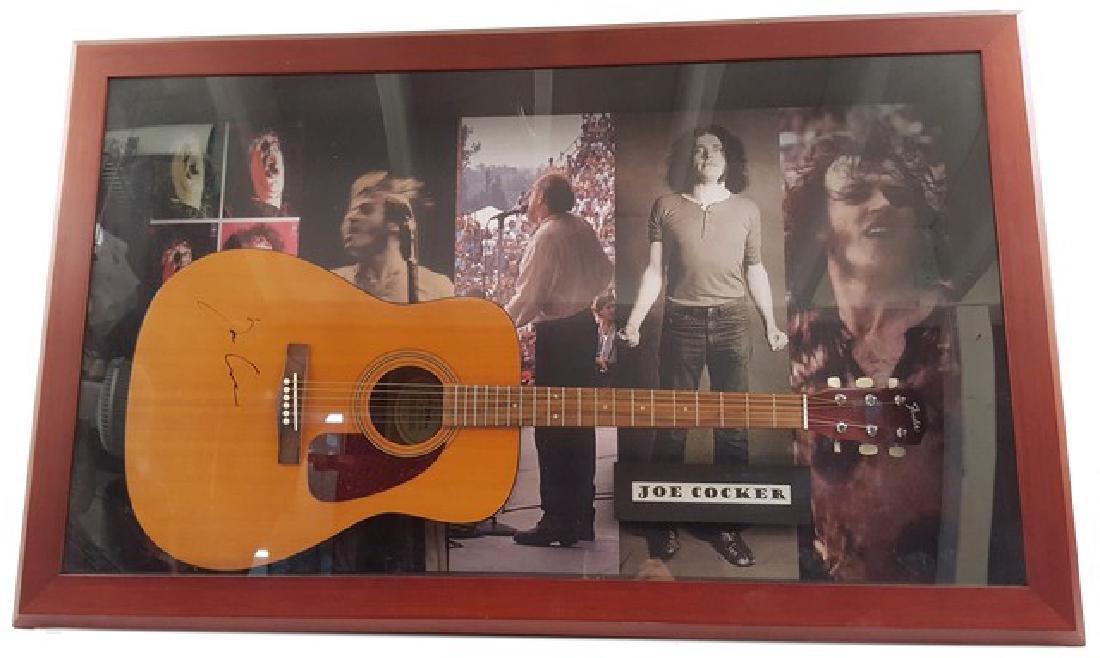 Joe Cocker Signed Guitar Framed