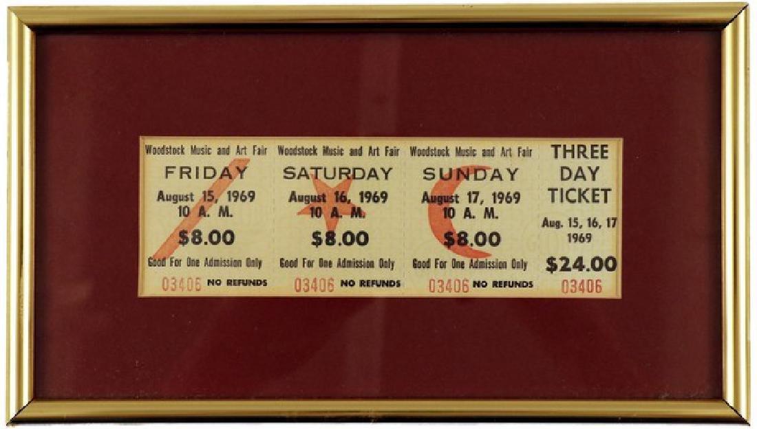 Woodstock Music and Art Fair Ticket Framed (1969)
