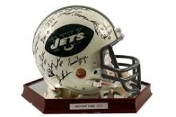 1969 New York Jets Team Signed Football Helmet Framed