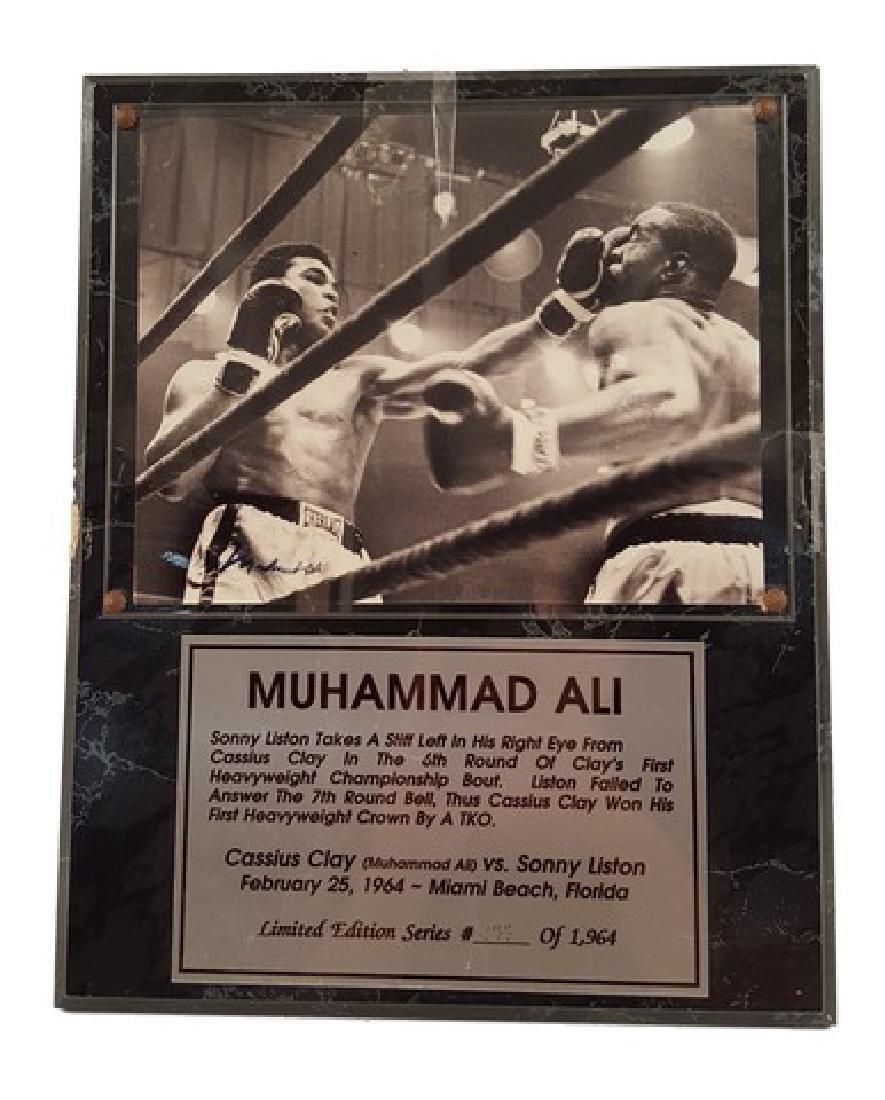 Muhammad Ali Signed Photo Plaque of Sonny Liston &