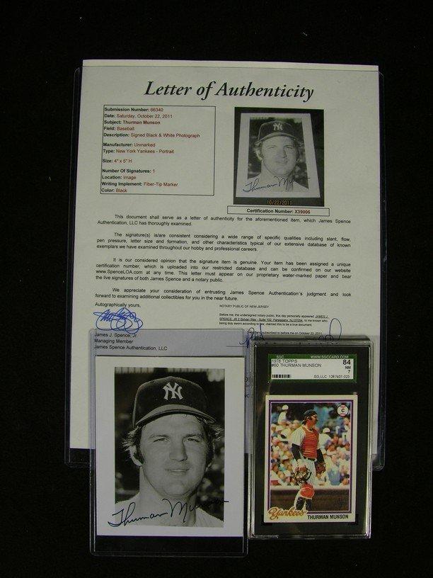 92: Thurman Munson Signed Photo and Baseball Card