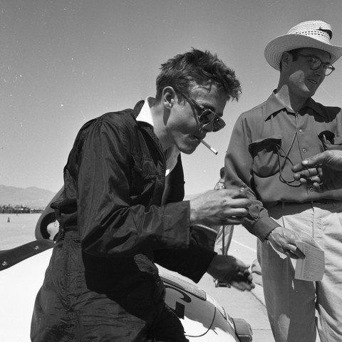 James Dean Rare Original Racing Photo With Racing Crew