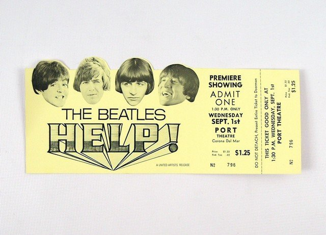 Original Premiere Ticket To The Beatles Help!