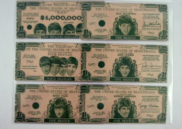 Beatles Money Complete Set Of Original 1964 Currency