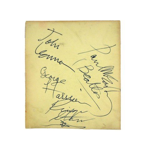 The Beatles Very Rare All Four Autographs On One Page