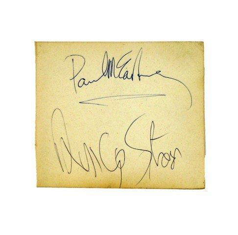 Paul McCartney/Ringo Starr Rare Combination Autograph