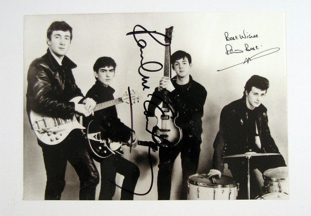 Beatles Paul McCartney and Pete Best Autographed Photo