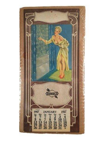 "Pinup Calendar Sunoco Oil 1947 ""Just Right"""