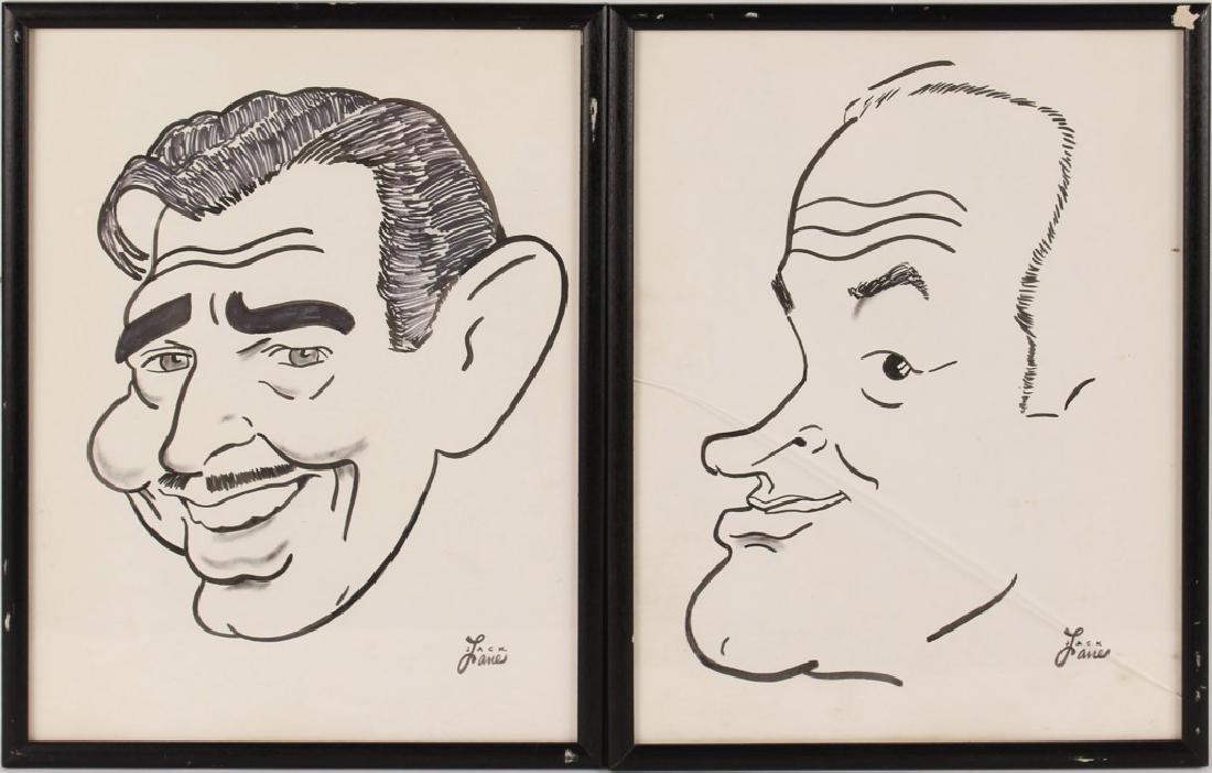 2 JACK LANE CLARK GABLE & BOB HOPE INK CARICATURES