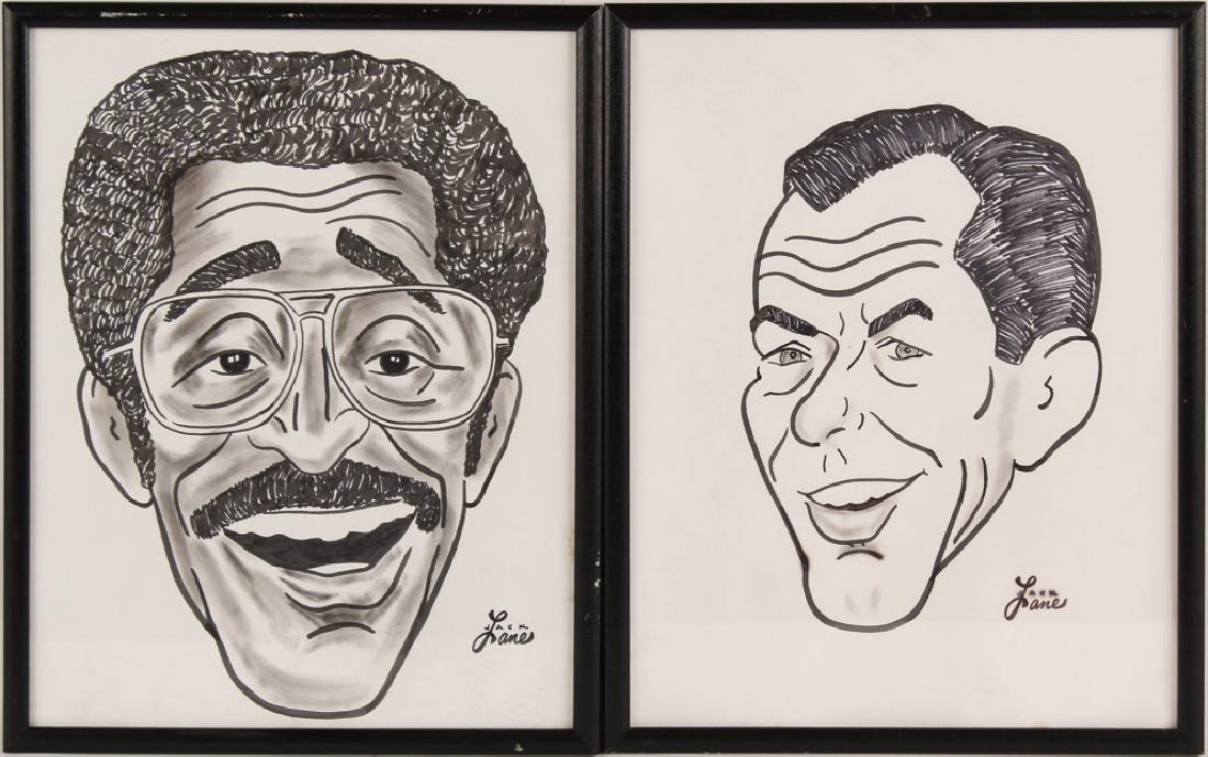 2 JACK LANE SAMMY DAVIS & SINATRA INK CARICATURES