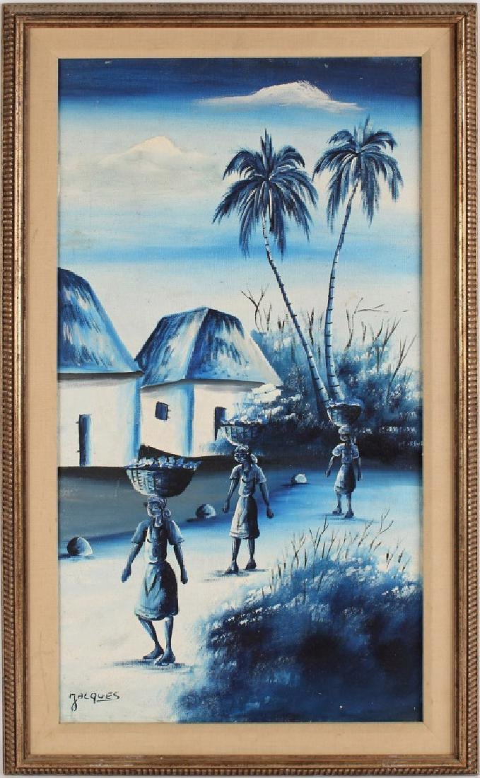 OIL ON CANVAS VILLAGE SCENE SIGNED JACQUES