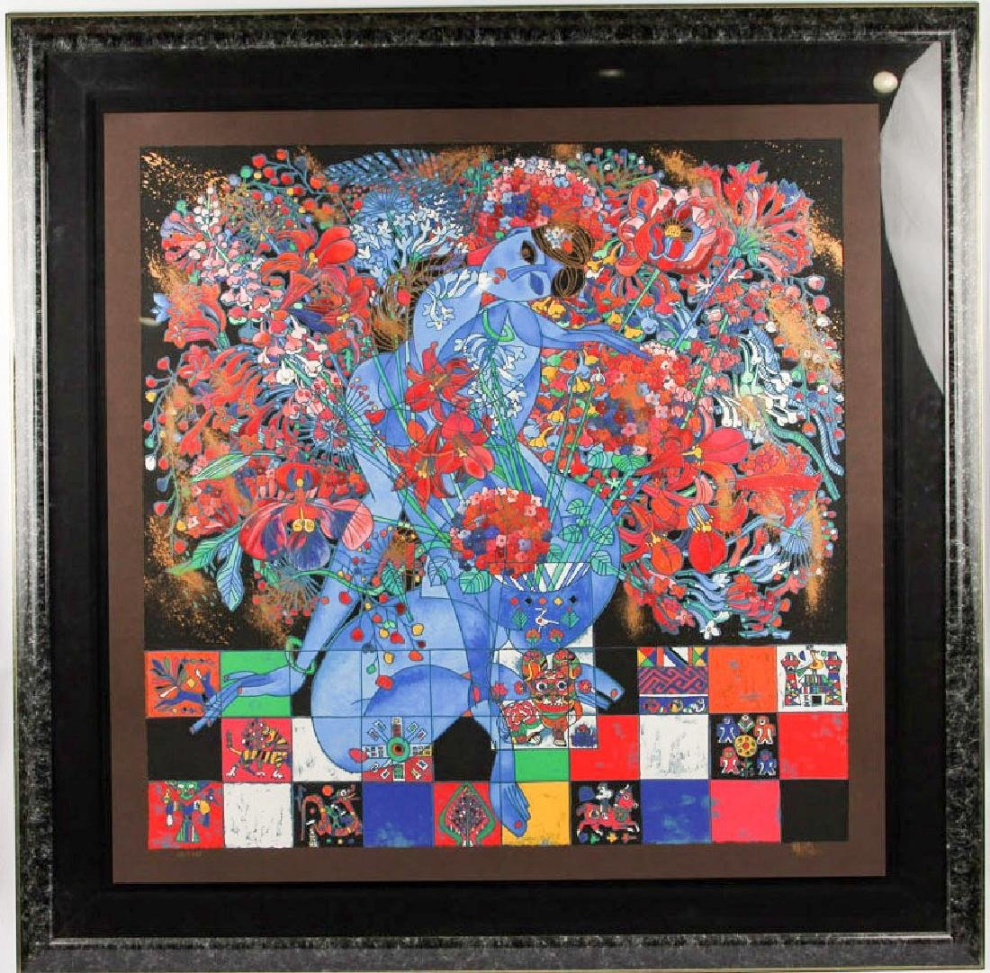 JIANG TIE-FENG LARGE BOUQUET SERIGRAPH