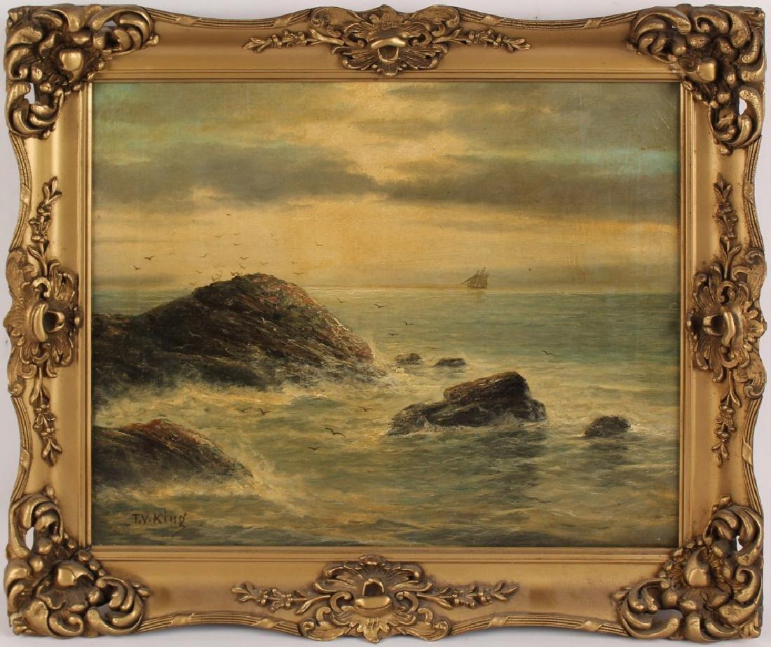 T V KING OIL ON CANVAS OCEAN SCENE 19TH CENTURY