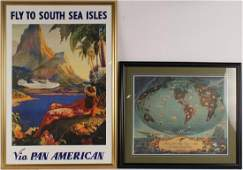 2 FRAMED PAN AMERICAN ADVERTISING POSTERS SEA ISLE