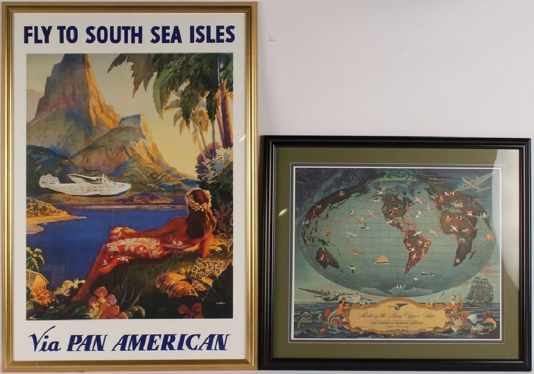 2 FRAMED PAN AMERICAN ADVERTISING POSTERS SEA ISLE