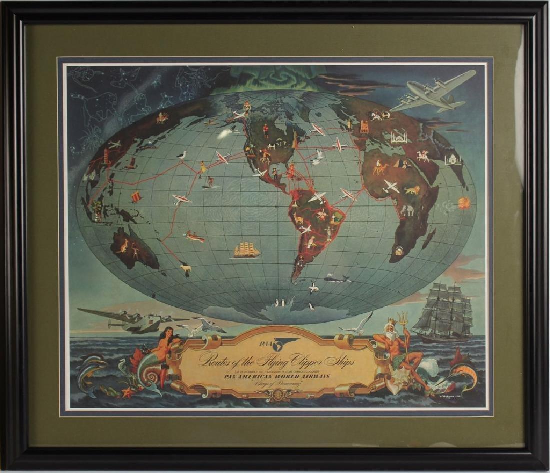 2 FRAMED PAN AMERICAN ADVERTISING POSTERS SEA ISLE - 3