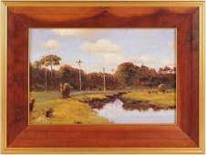 JOHN STANFORD OIL ON BOARD LANDSCAPE PAINTING