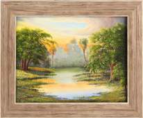 J. BARNHILL FLORIDA WETLAND SUNSET OIL ON CANVAS