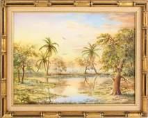 J. BARNHILL FLORIDA MARSHLAND OIL ON CANVAS