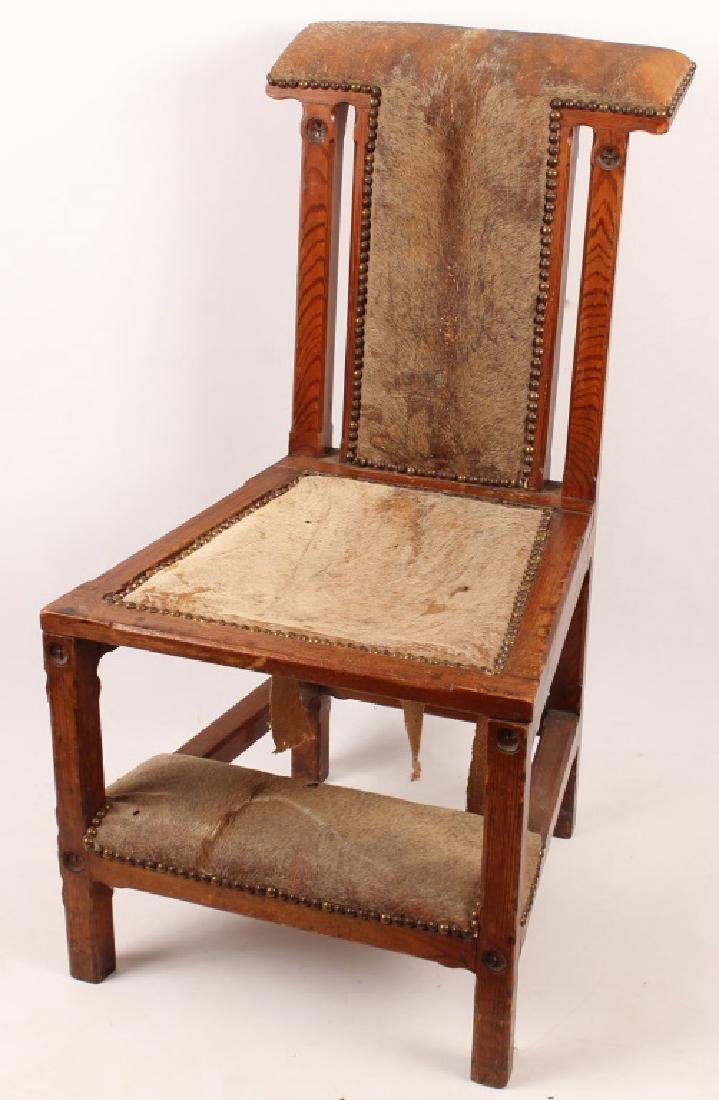 OAK DEER HIDE FOLDING DEVOTIONAL CHAIR