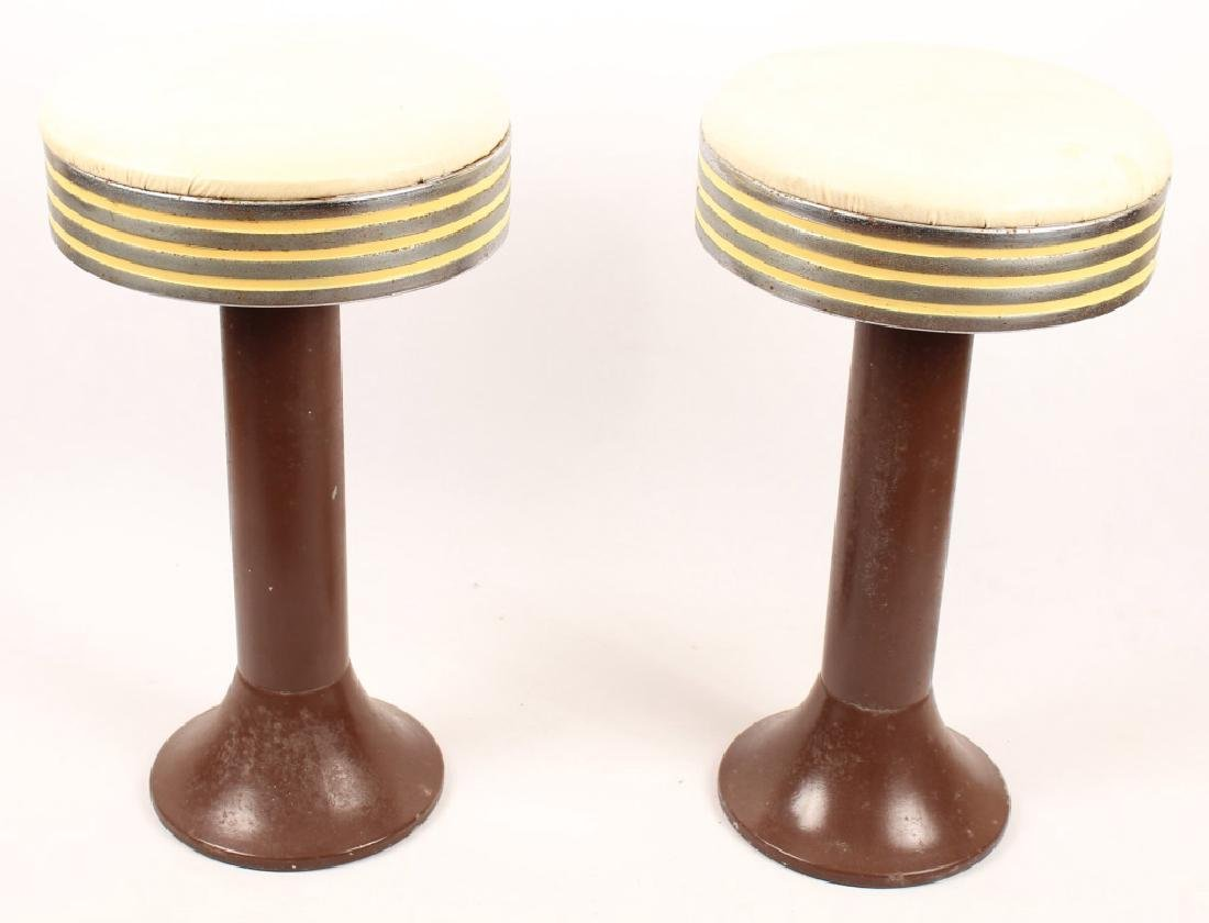PAIR MID CENTURY TOP SPIN SODA FOUNTAIN CHAIRS