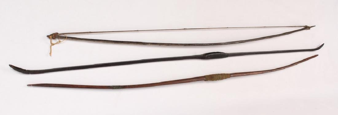 3 LARGE AFRICAN CARVED WOODEN LONG BOWS - 2