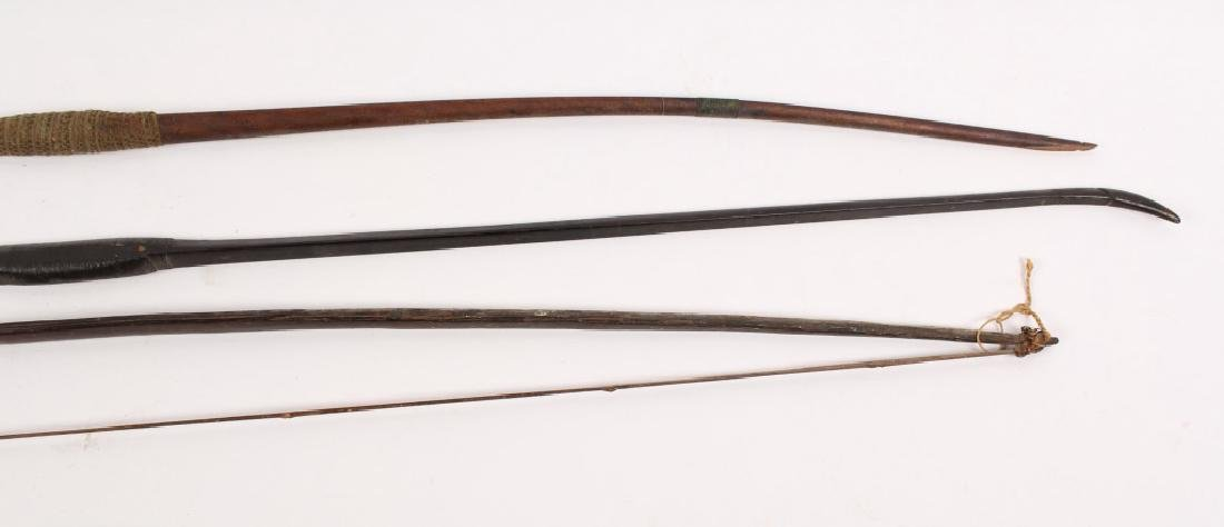 3 LARGE AFRICAN CARVED WOODEN LONG BOWS - 4