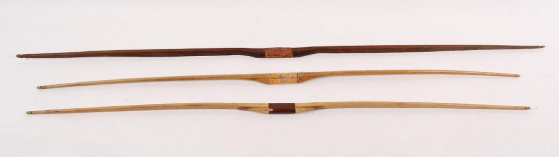 3 LARGE WOODEN LONG BOWS