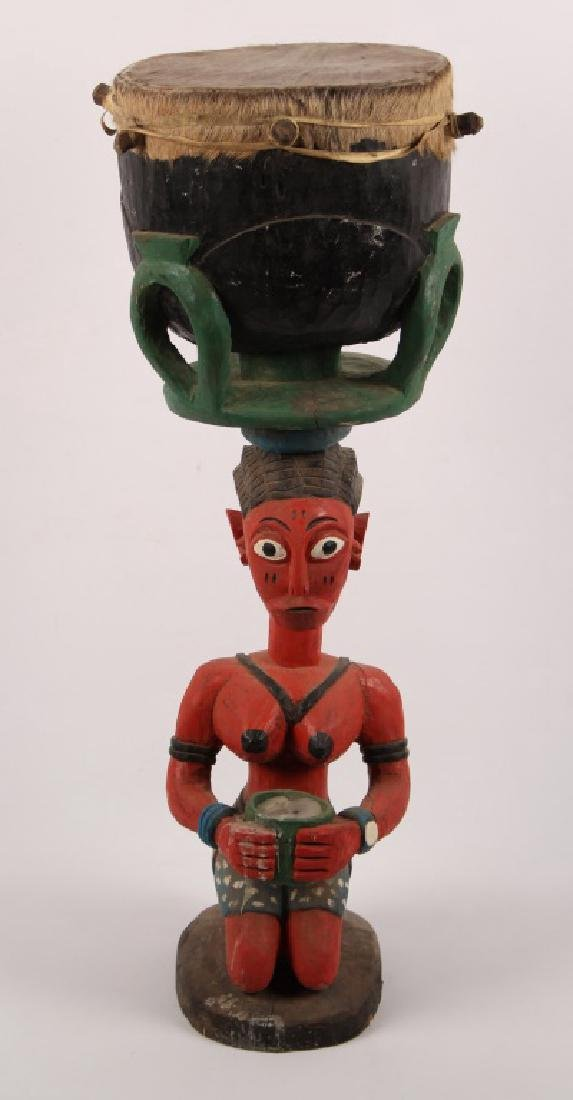 BAGA W AFRICAN CARVED WOODEN FERTILITY DRUM STATUE