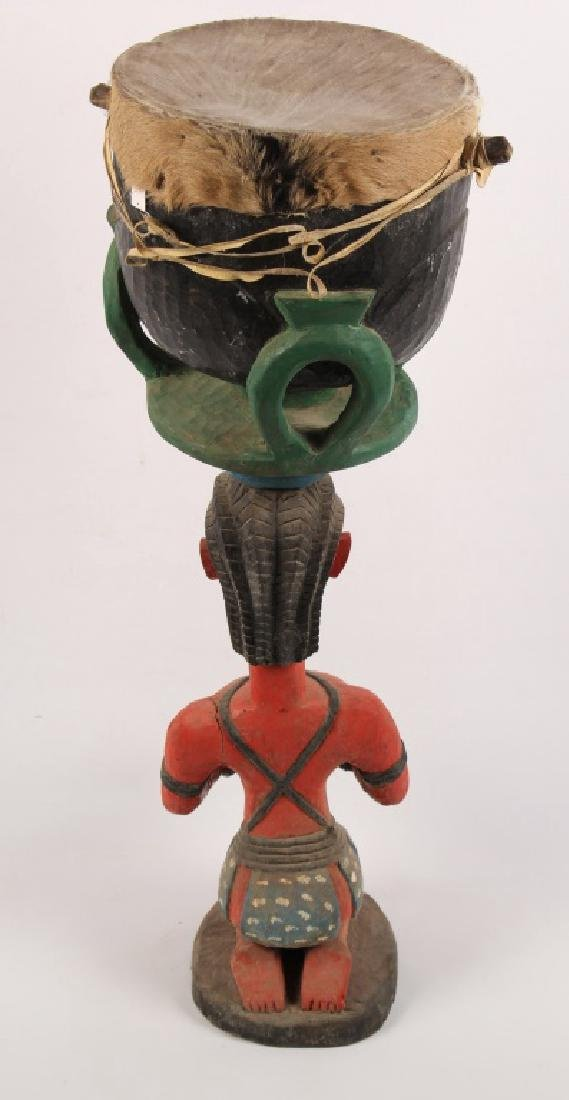 BAGA W AFRICAN CARVED WOODEN FERTILITY DRUM STATUE - 4