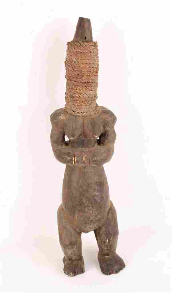 AFRICAN CARVED WOODEN FERTILITY DOUBLE SIDE FIGURE